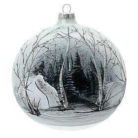 Pallina albero natale bosco bianco nero vetro soffiato 150 mm s1
