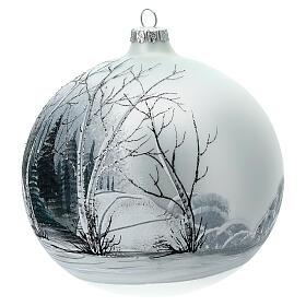 Pallina albero natale bosco bianco nero vetro soffiato 150 mm s2