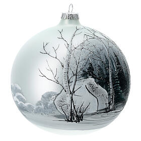 Pallina albero natale bosco bianco nero vetro soffiato 150 mm s3