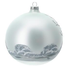 Pallina albero natale bosco bianco nero vetro soffiato 150 mm s4