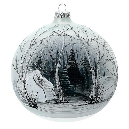 Pallina albero natale bosco bianco nero vetro soffiato 150 mm 1