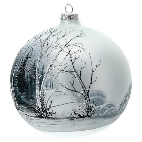 Pallina albero natale bosco bianco nero vetro soffiato 150 mm 2