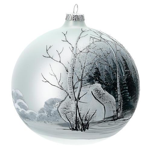 Pallina albero natale bosco bianco nero vetro soffiato 150 mm 3
