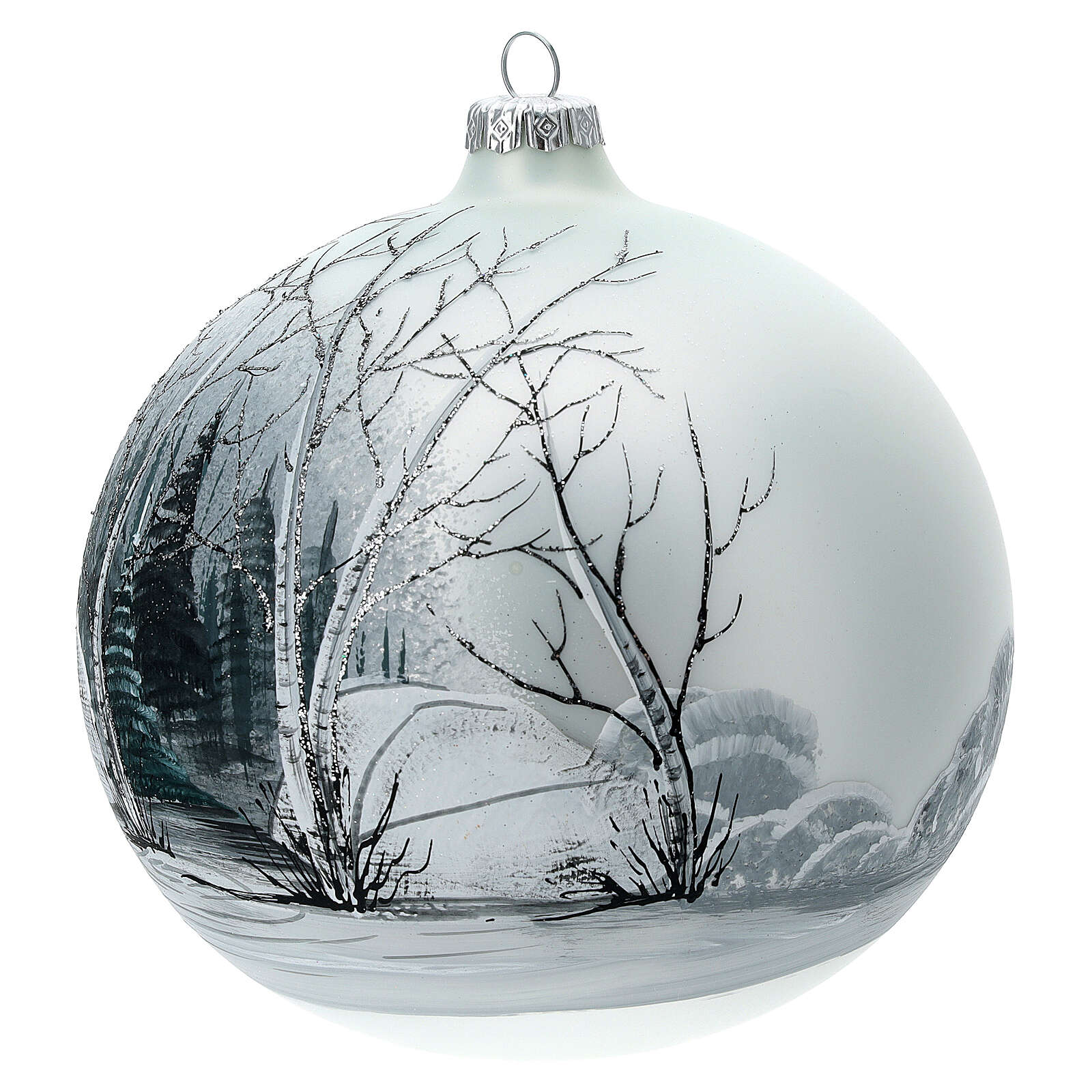 Christmas tree ball forest black white blown glass 150 mm 4