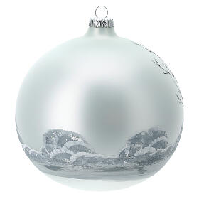 Christmas tree ball forest black white blown glass 150 mm s4