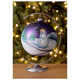 Boule sapin Noël forêt lilas verre soufflé 150 mm s2