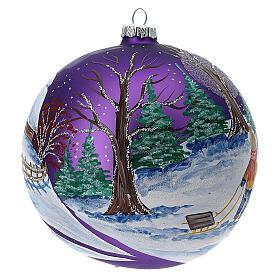 Boule sapin Noël forêt lilas verre soufflé 150 mm s4