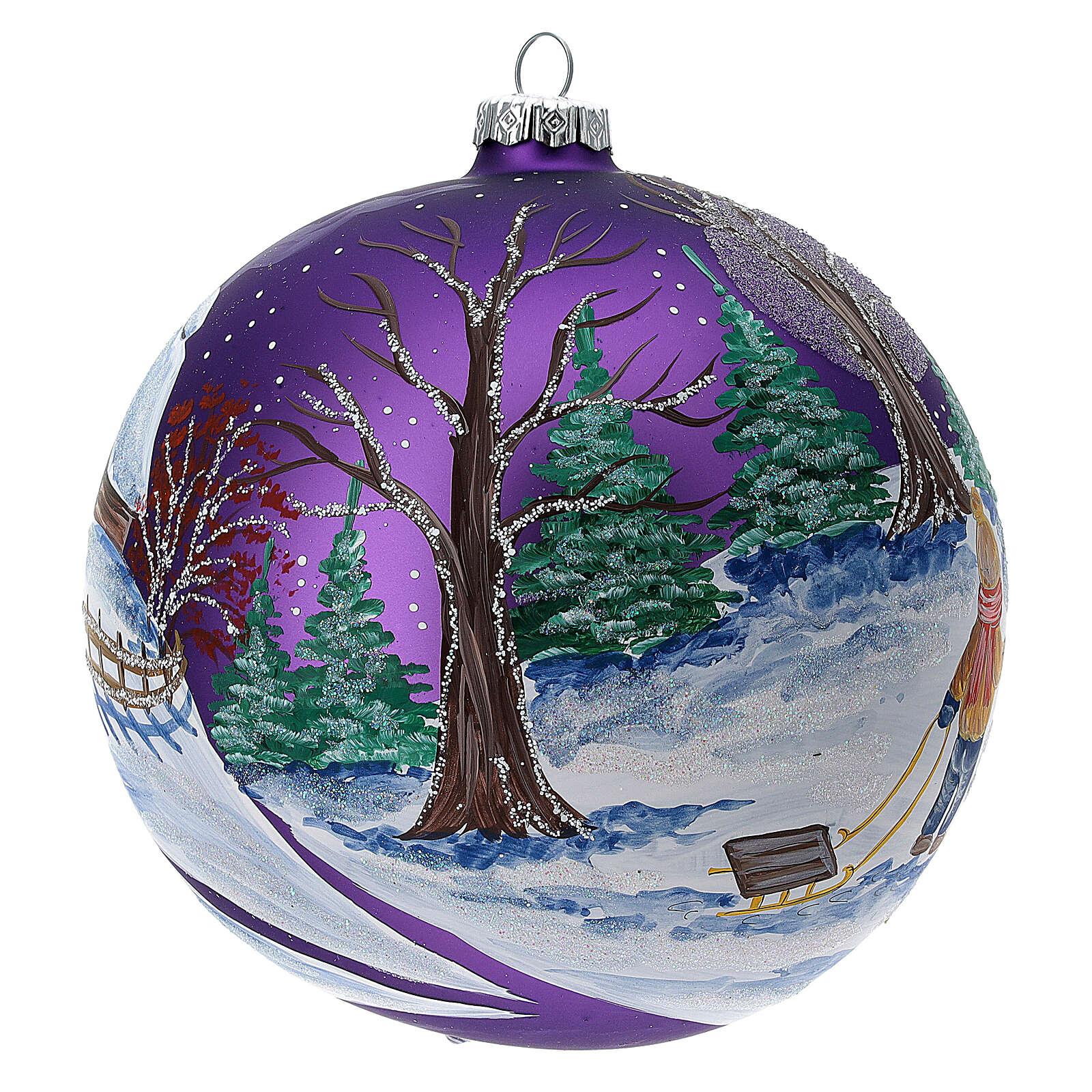 Bola árvore de Natal bosque com céu violeta vidro soprado 150 mm 4