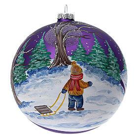 Bola árvore de Natal bosque com céu violeta vidro soprado 150 mm s1