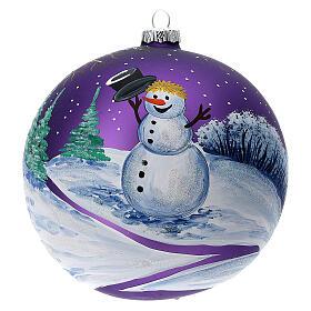 Bola árvore de Natal bosque com céu violeta vidro soprado 150 mm s3