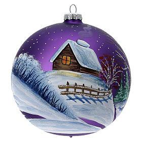Bola árvore de Natal bosque com céu violeta vidro soprado 150 mm s5