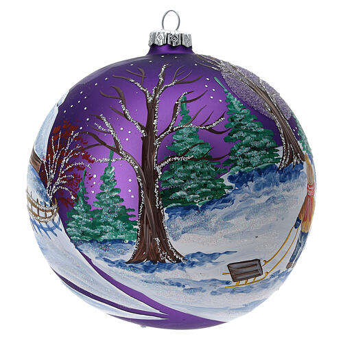 Christmas tree ornament purple forest blown glass 150 mm 3