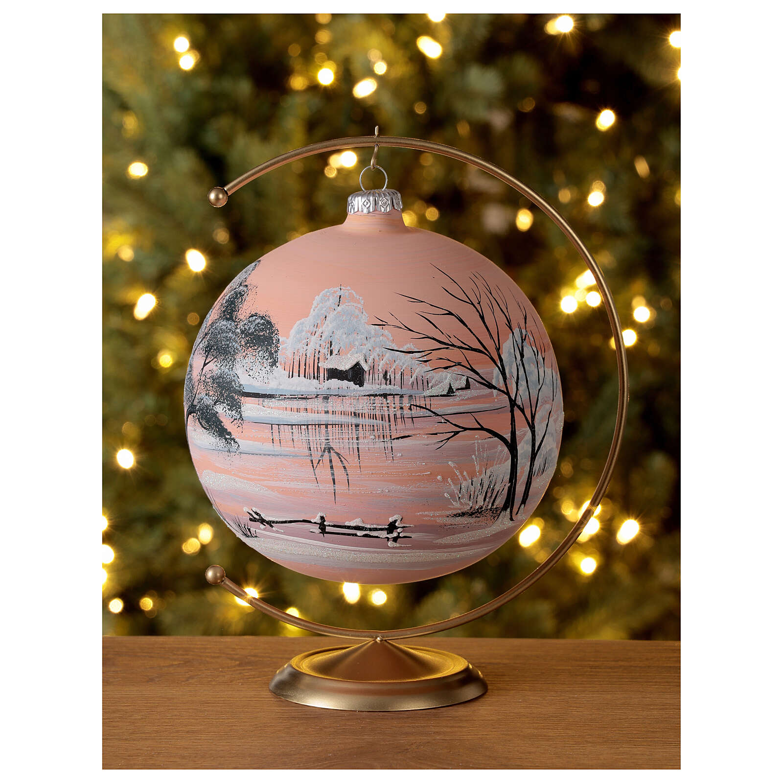 Christmas ball snow peach background blown glass 150 mm 4