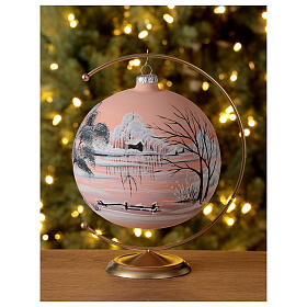 Christmas ball snow peach background blown glass 150 mm s2