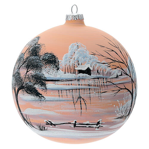 Christmas ball snow peach background blown glass 150 mm 1