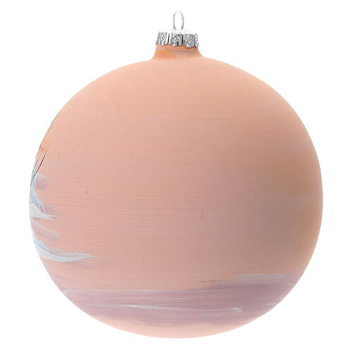 Christmas ball snow peach background blown glass 150 mm 5