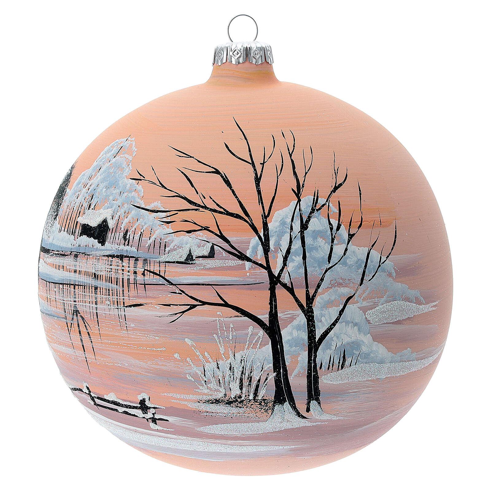 Boule Noël fond pêche neige verre soufflé 150 mm 4