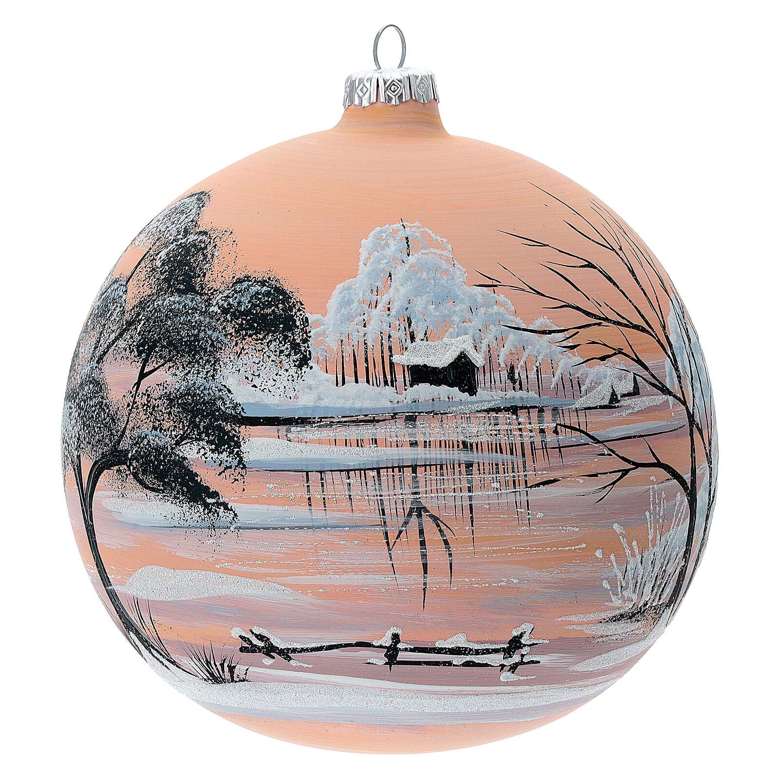 Bola árvore de Natal paisagem nevada com fundo cor pêssego vidro soprado 150 mm 4