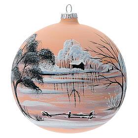 Bola árvore de Natal paisagem nevada com fundo cor pêssego vidro soprado 150 mm s1