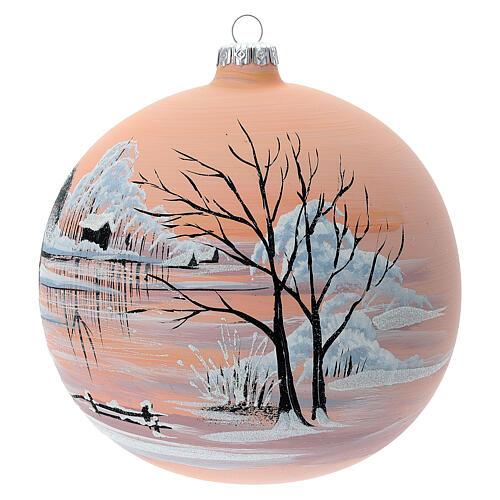 Bola árvore de Natal paisagem nevada com fundo cor pêssego vidro soprado 150 mm 2