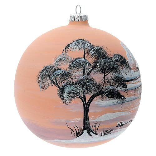 Bola árvore de Natal paisagem nevada com fundo cor pêssego vidro soprado 150 mm 3