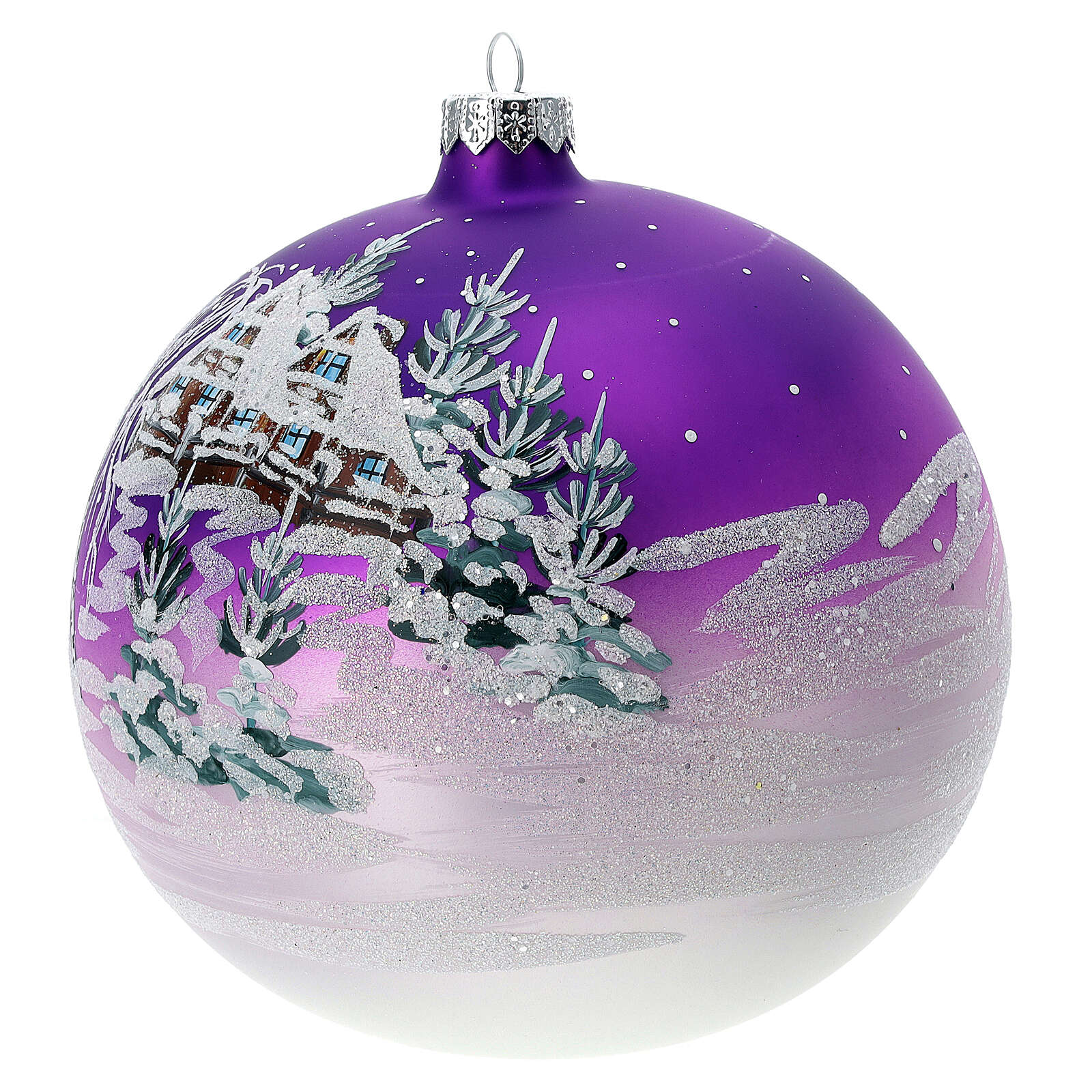 Christmas ball snowy home purple background blown glass 150 mm 4