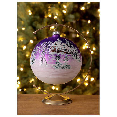 Christmas ball snowy home purple background blown glass 150 mm 2