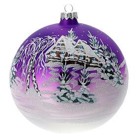 Boule Noël maison enneigée fond violet verre soufflé 150 mm s1