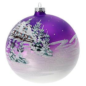 Boule Noël maison enneigée fond violet verre soufflé 150 mm s2