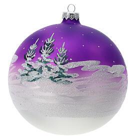 Boule Noël maison enneigée fond violet verre soufflé 150 mm s4
