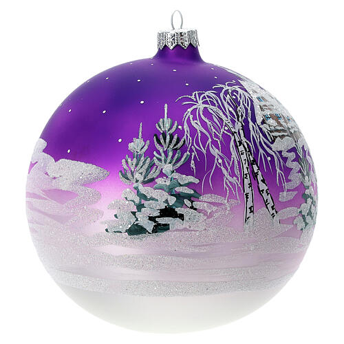 Boule Noël maison enneigée fond violet verre soufflé 150 mm 3