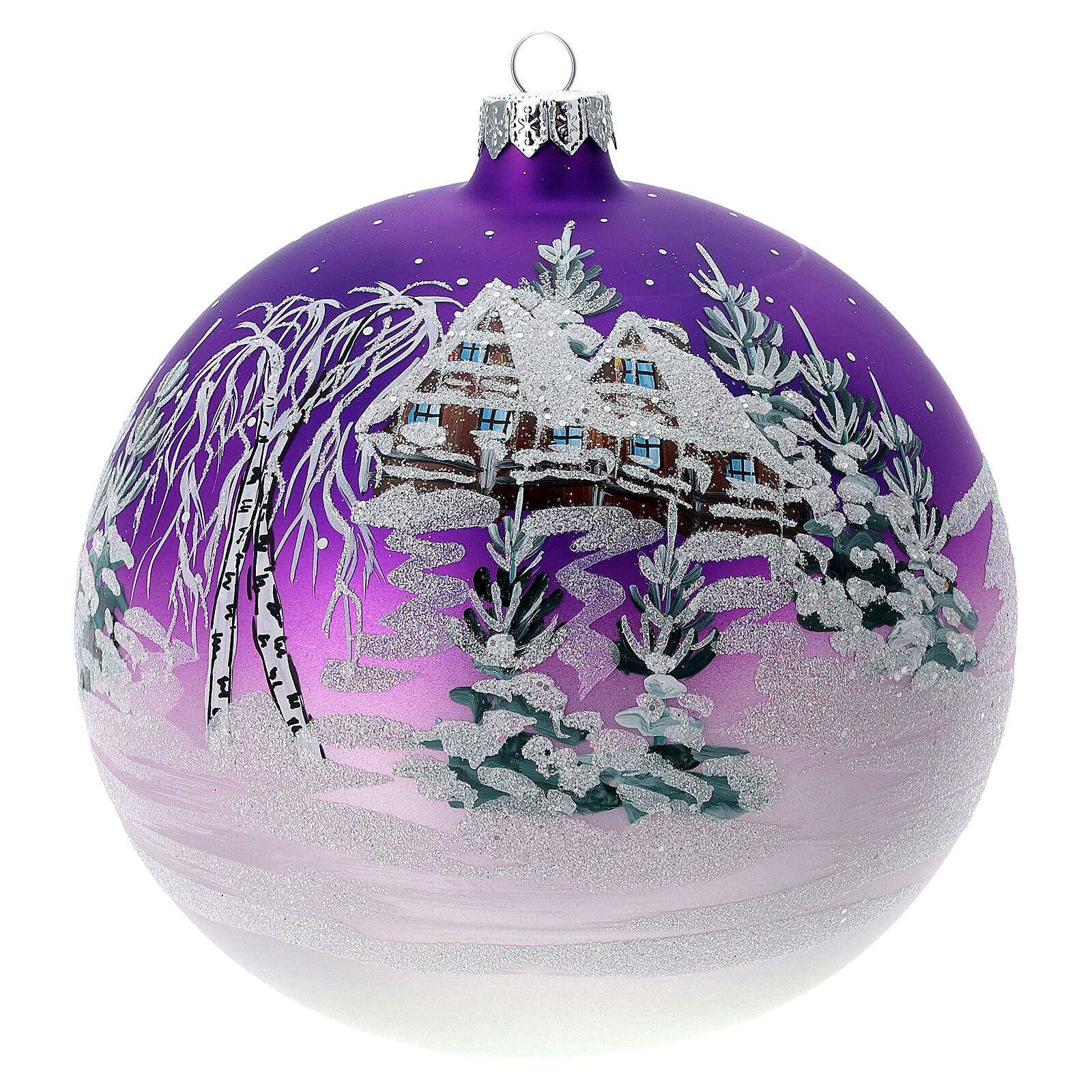 Glass Christmas tree ornament plum snowy house 150 mm 4