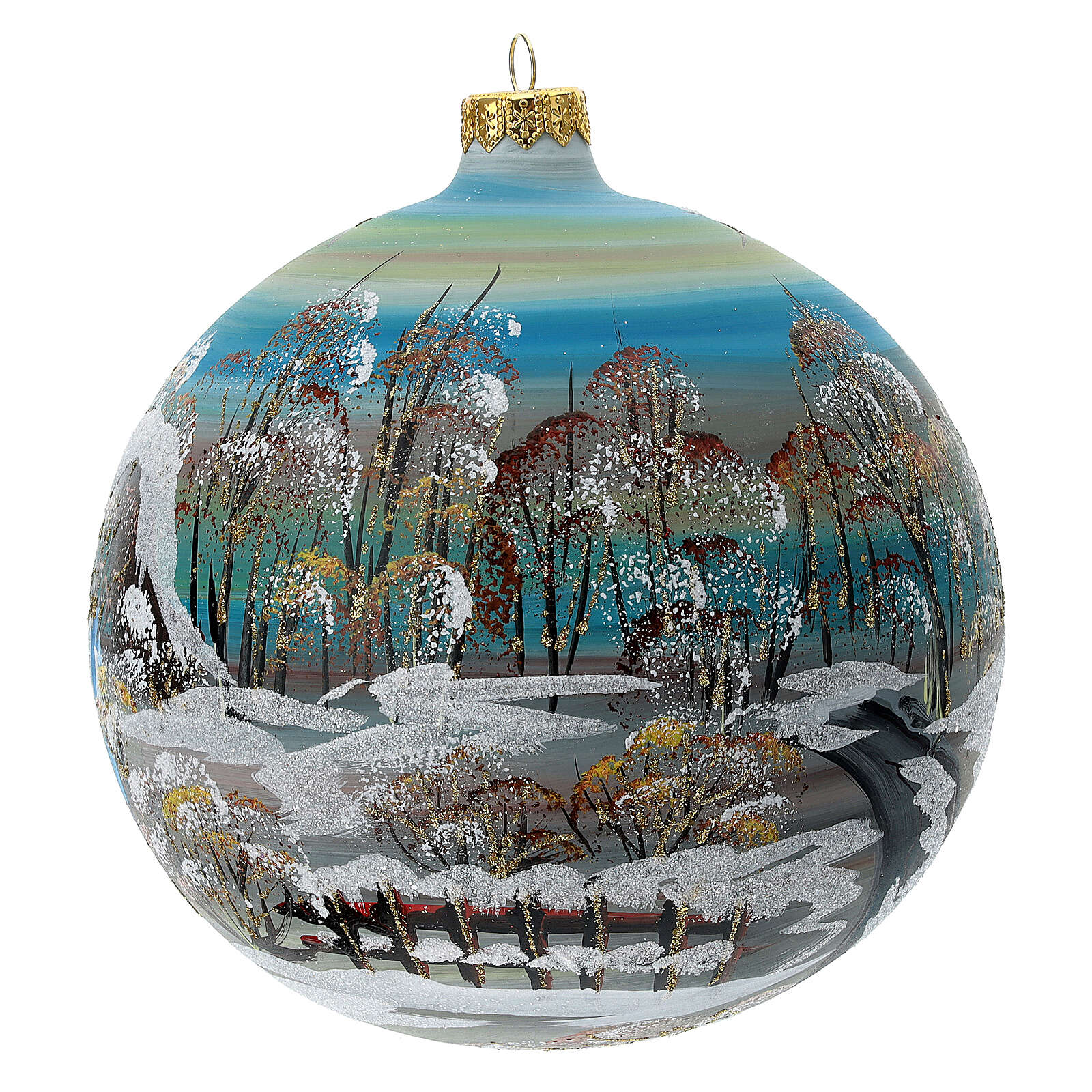 Christmas tree ball snowy village blown glass 150 mm 4
