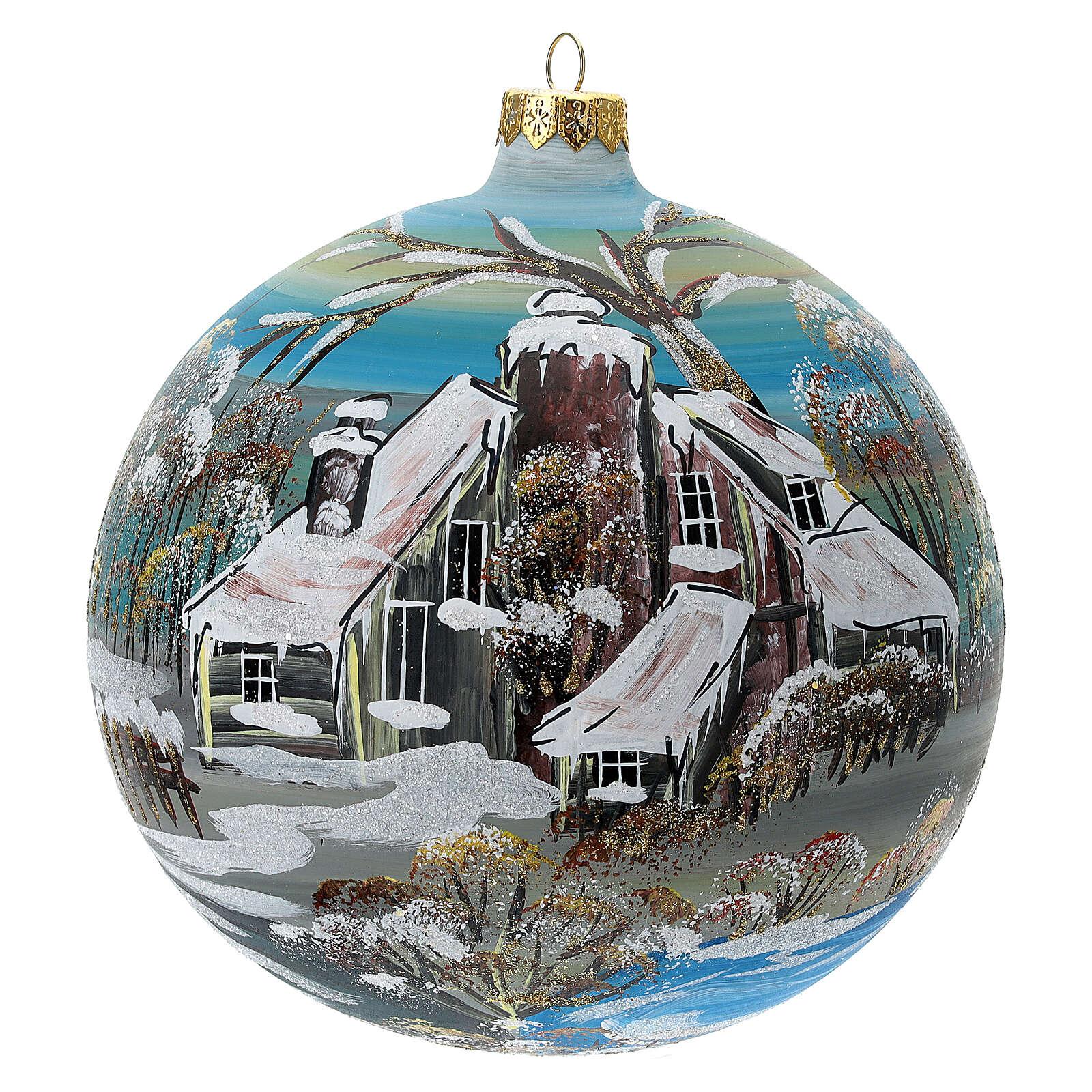 Boule sapin Noël village enneigé verre soufflé 150 mm 4