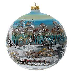 Boule sapin Noël village enneigé verre soufflé 150 mm s4