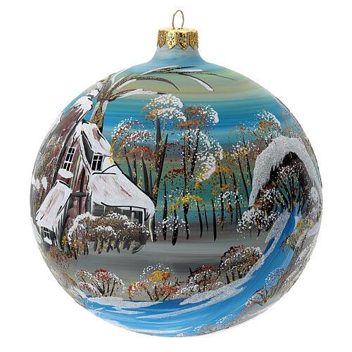Boule sapin Noël village enneigé verre soufflé 150 mm 2