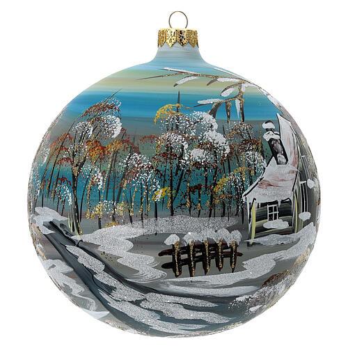 Boule sapin Noël village enneigé verre soufflé 150 mm 3