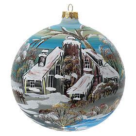 Bola árvore de Natal vidro soprado aldeia nórdica nevada 150 mm s1