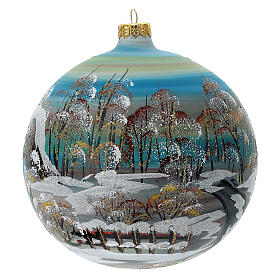Bola árvore de Natal vidro soprado aldeia nórdica nevada 150 mm s5