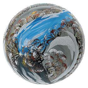 Bola árvore de Natal vidro soprado aldeia nórdica nevada 150 mm s6