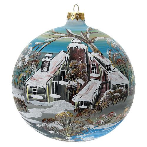 Bola árvore de Natal vidro soprado aldeia nórdica nevada 150 mm 1