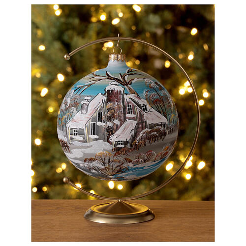 Bola árvore de Natal vidro soprado aldeia nórdica nevada 150 mm 2