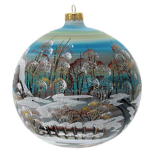 Bola árvore de Natal vidro soprado aldeia nórdica nevada 150 mm 5