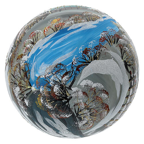 Bola árvore de Natal vidro soprado aldeia nórdica nevada 150 mm 6