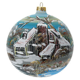 Christmas tree ornaments snowy house blown glass 150 mm s1