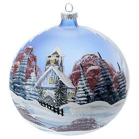 Christmas ball snow hut red sky blown glass 150 mm s1