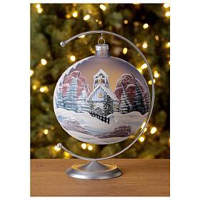 Christmas ball snow hut red sky blown glass 150 mm s2