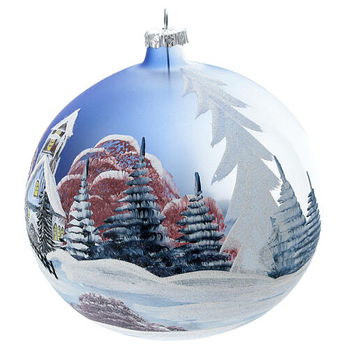 Christmas ball snow hut red sky blown glass 150 mm 3