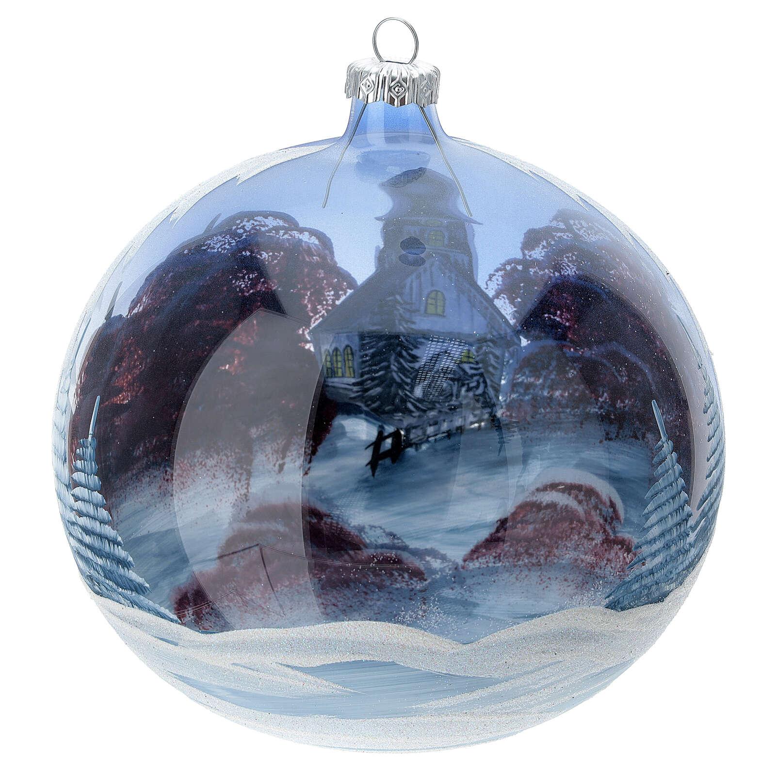 Boule Noël chalet neige ciel rouge verre soufflé 150 mm 4