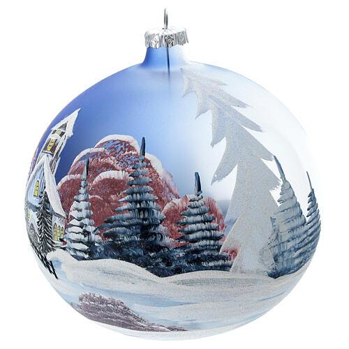 Boule Noël chalet neige ciel rouge verre soufflé 150 mm 2